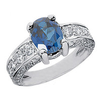 European Engagement Ring - Oval Blue Sapphire Engagement Ring with pave diamond band - ER1