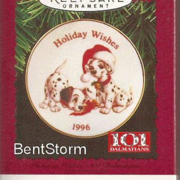 Licensed cool 1996 HALLMARK Disney 101 DALMATIANS DOG Plate Holiday Wishes Christmas Ornament
