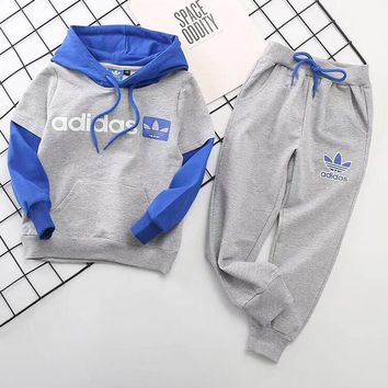 Adidas Girls Boys Children Baby Toddler Kids Child Fashion Casual Top Sweater Pullover Hoodie Pants Trousers Set Two-Piece