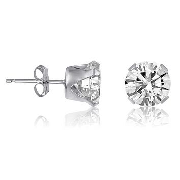 .925 Sterling Silver Brilliant Round Cut Clear CZ Stud Earrings in 2mm-12mm
