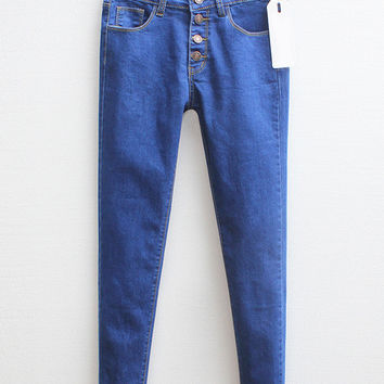 Blue Denim Buttoned Pants