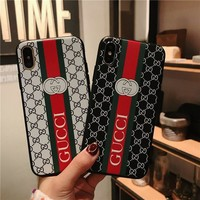 """Gucci"" Fashion Stripe GG Letter Bee Apple iPhoneX/8/6S Silica Gel Soft Shell iPhone7 Plus Phone Case"