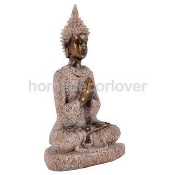 Cottage Sandstone Meditation Buddha Statue Marble Sculpture Handmade Decor#3