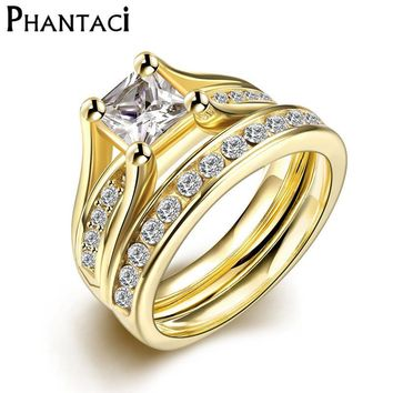 2 PCS Set Zircon 316L Stainless Steel Double Rings For Women Gold Color Crystal Female Engagement Wedding Bridal Finger Rings
