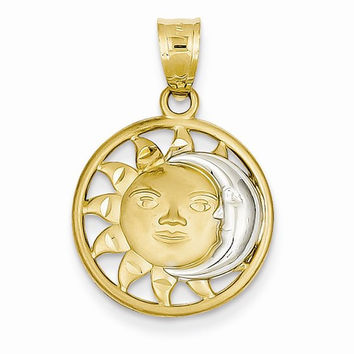 14k Two-tone Gold Sun Moon Charm