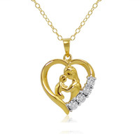 Mother and Child Diamond Heart Pendant in 18K Gold over Sterling Silver