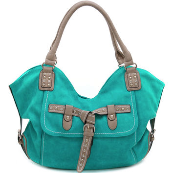 Women's Fashion Hobo w/ Chic Rhinestone Studded Belt Accent - Turquoise Color: Turquoise