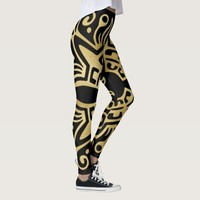 Gold Foil (Faux) Elements Blacks Leggings