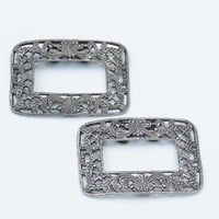 Vintage Silver Musi Filigree Shoe Clips