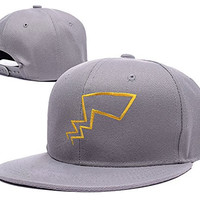 ZZZB Pokemon Pikachu Tails Logo Adjustable Snapback Caps Embroidery Hats - Grey