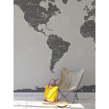 World Map Wall Mural (Grey). #6133