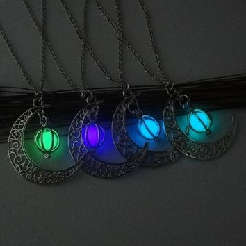 Glow In The Dark Moon Charm Necklace