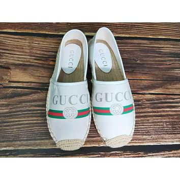 Gucci Fashion Woman Casual Print Shoes Fisherman Shoes Single Shoes