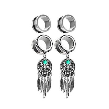 BodyJ4You 2 Pairs Surgical Steel Screw-Fit Tunnel Dreamcatcher Dangle Tribal Plug 0G (8mm) Stretcher Gauges