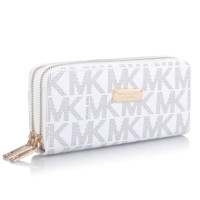 MK Michael Kors Fashion New More Letter Long Section Women Purse Wallet White
