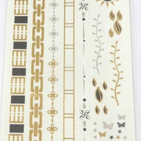 Temporary Metallic Jewelry Gold Silver Flash Tattoos - Variation 4