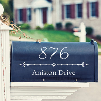 Fancy Numbers Mailbox Decal