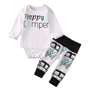 Newborn autumn New baby boy clothes Kids Baby Boy Girl Infant Long Sleeve Romper +pants newborn toddlers baby clothing set