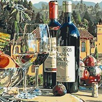 MaHuaf-X1226 Wine still life painting by numbers hand painted on canvas