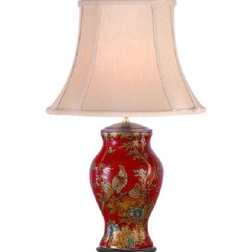 Chinese Red Lacquer Porcelain Vase Bird Table Lamp Shade and Finial 27""