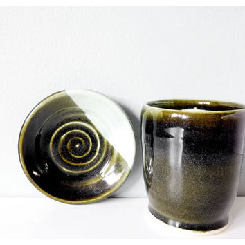 Pottery tumbler and saucer - handmade ceramic cup with plate - mint dark green stoneware dish set
