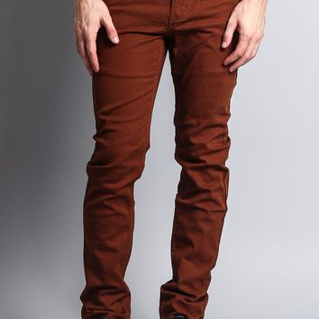 Men's Skinny Fit Colored Jeans (Mocha)
