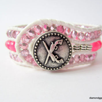 Guns and Roses Women's Beaded Leather Cuff Pink Agate Czech Glass Silver Gun Button Handmade Cowgirl Jewelry OOAK Leather Beaded Bracelet