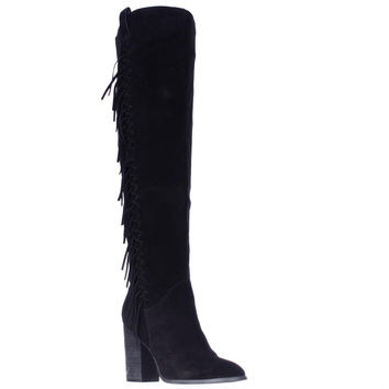 Carlos by Carlos Santana Garrett Fringe Over The Knee Slouch Boots - Black