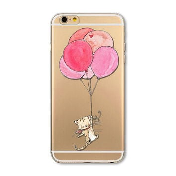 Balloon cat mobile phone case for iPhone 7 7 plus iphone 5 5s SE 6 6s 6 plus 6s plus + Nice gift box 072701