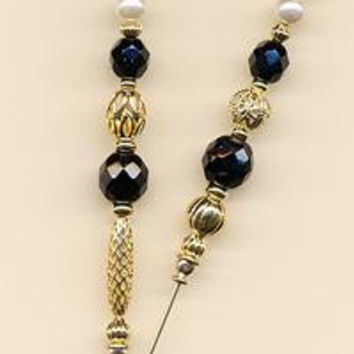 Midnight Pearls and Lace  6 inch Hatpins