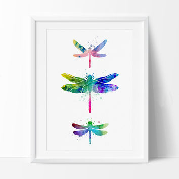 Dragonfly Watercolor Print Art Painting Ilration Home