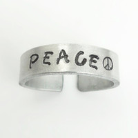 Hand stamped peace ring peace sign ring - Aluminum ring - Adjustable ring - Jewelry for men Jewelry for women
