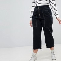 ASOS DESIGN Curve wide leg utility jeans with big pockets and contract stitch in black at asos.com