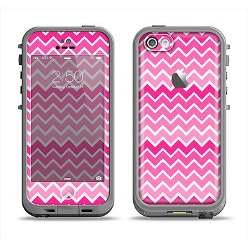 The Pink & White Ombre Chevron V2 Pattern Apple iPhone 5c LifeProof Fre Case Skin Set