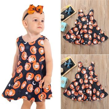 2018 New Infant Toddler Baby Girls Pumpkin Print Ruched Dresses Halloween Costume Outfits Cute sweet Costume festivo New XJ50