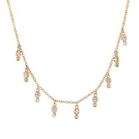 14kt gold and nine double bezel drip necklace – Luna Skye by Samantha Conn