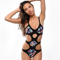 Damsel Aztec Blanket Cut-Out One Piece Swimsuit