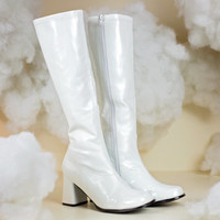 60s gogo boots / white knee high boots / 1960s go go boots / 90s club kid disco boots