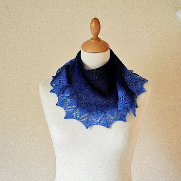 Knit Lace Shawlette Crescent Blue Ombre