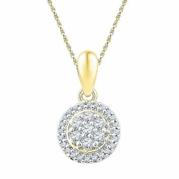 10kt Yellow Gold Women's Round Diamond Halo Flower Cluster Pendant 1-4 Cttw - FREE Shipping (US/CAN)