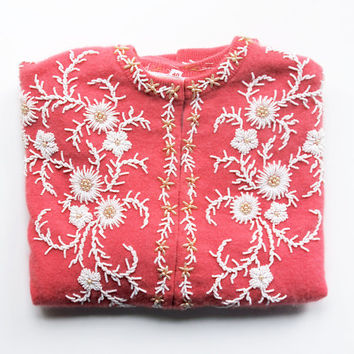 Easter Sunday - Vintage Pink Cashmere Beaded Cardigan - Made in Hong Kong - Women - Lined - XS - S - Flowers - White - Mother's Day - Spring
