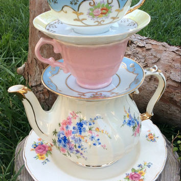 Alice In Wonderland Tea Party Birthday Decoration Mad Hatter Stacked Teacup Teapot Centerpiece Onederland Baby Shower Blue Pink Wedding
