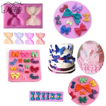 Butterfly Bows Silicone Mold Cake Decorating Tools Fondant Chocolate Clay Candy Moulds Cupcake Kitchen Baking Tools Decoration
