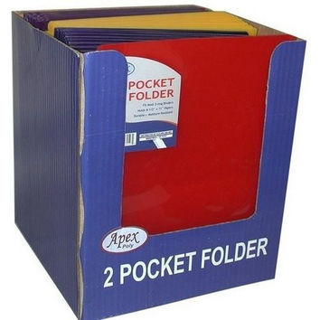 "Two Pocket Plastic Folders - ""Snap In"" - 9.5"" x 11.5"""