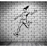 Soccer Football Woman Ball The Best Sport In The World Cool Wall Decal Unique Gift (z2716)