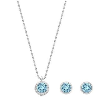 Swarovski Jewelry Set Earrings and Necklace FLIRT Aqua, Rhodium -5030716