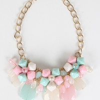 Clustered Stones Chunky Chain Necklace Set
