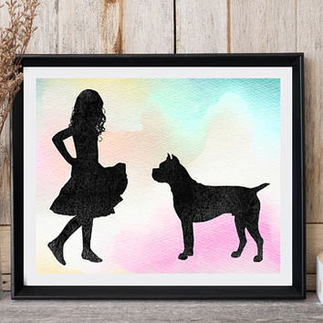 Girls room wall decor Boxer print Girl with dog Animal print Dog print Minimalist art Girly gift Boxer home decor Instant download Dog art