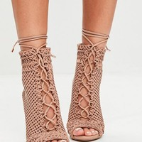 Missguided - Beige Woven Peep Toe Ankle Boots