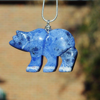 Blue Sodalite Bear Necklace ~  Large Polar Bear Necklace ~ Stone Necklace ~ Bear Jewellery ~ Animal Lover ~ Birthday Gift ~ Outdoor Explorer